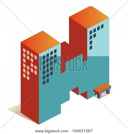 Whiskey latin alphabet letter in skyscraper shape