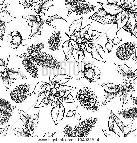 Vector Christmas And New Year Hand Drawn Vintage Pattern