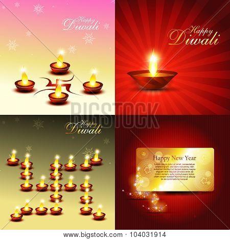 vector set of diwali background with beautiful diya illustration
