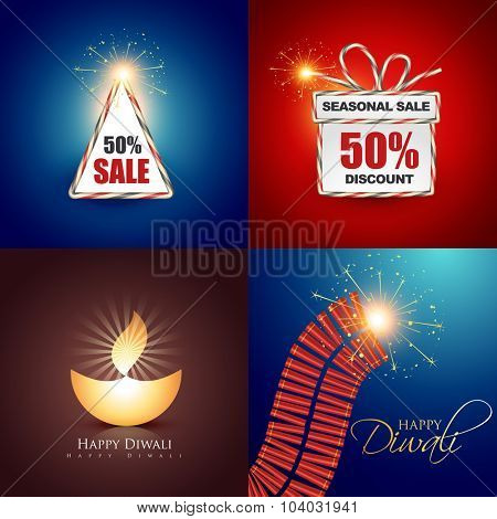 vector collection of beautiful diwali background with crackers and diya illustration