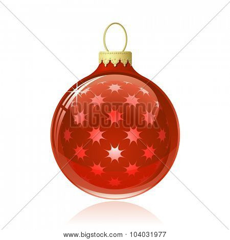 Red Christmas ball. Christmas bauble with star shapes and reflections. Vector illustration