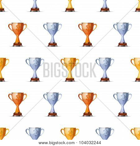 Cups of winners award for first, second and third position on white seamless pattern