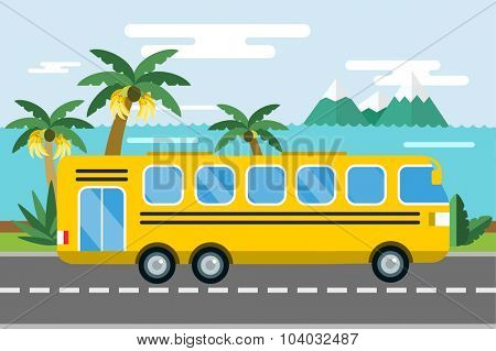 City bus cartoon style vector. Bus icon silhouette. Bus vector cartoon silhouette. Bus mobile fast city transport. Bus fast moving. Yellow bus vector illustration. Vector city bus on beach isolated