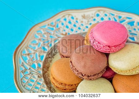 Plate Of Colorful Macarons