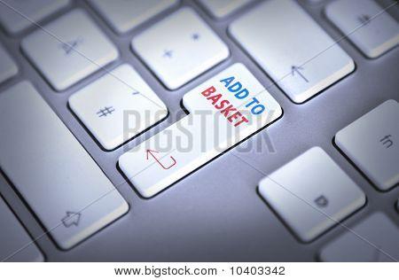 Computer-Tastatur - Warenkorb - button