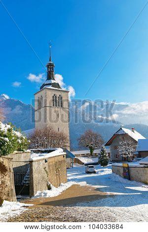 Church Near Gruyere Castle  On A Clear Winter Day