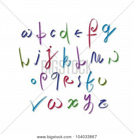Calligraphic Script, Vector Alphabet Letters Set, Vector Font.