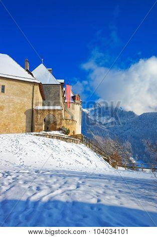Castle Of Gruyeres In Switzerland