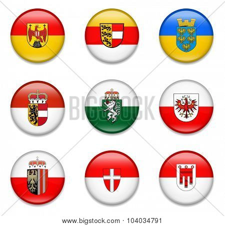 Austrian States Button Flag Collection-Complete