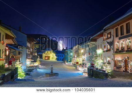 Winter Night In The Medieval Town Of Gruyeres