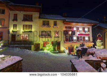 Winter Night Scenery Of Gruyere