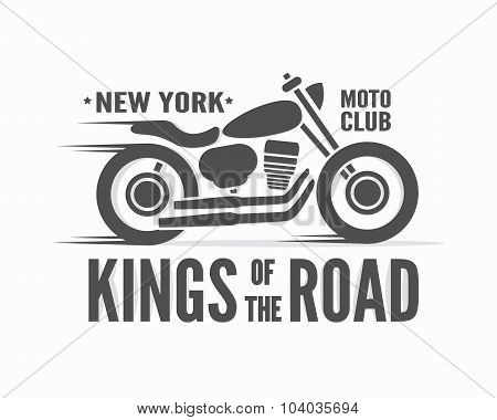 Kings of the Road vector typographic poster. Vintage motorcycle label, badge, logo or icon