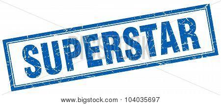 Superstar Blue Square Grunge Stamp On White