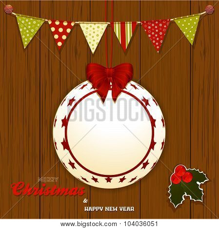 Christmas Wood Background With Bunting And Bauble