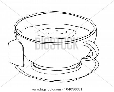 Tea Cup Cute Art Line Art  Illustation