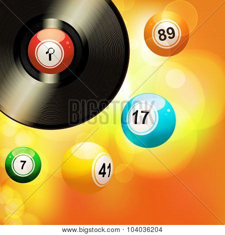 Glowing Background With Vinyl Record And Bingo Balls