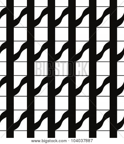Mosaic ornament monochrome seamless pattern or vector background.