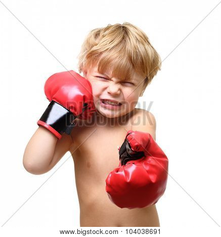 Young boy boxing isolated on white background