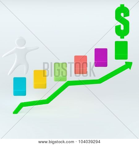 3D Render Arrow Graph Illustration, For Business Infographic
