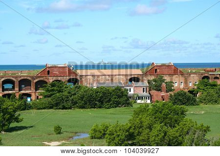 Fort Jefferson, Inner wall, houses and courtyard, Dry Tortugas, Florida