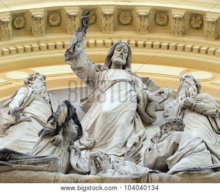 LJUBLJANA, SLOVENIA - JUNE 30: Jesus Christ on the portal of Saint James church in Ljubljana, Slovenia on June 30, 2015