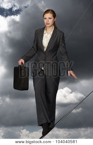 Business Woman On Rope.