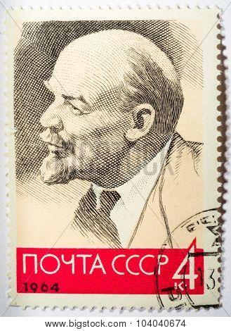Ussr - Circa 1964: A Stamp Printed By Ussr Shows V.i. Lenin, Series, Circa 1964
