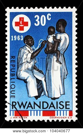 RWANDA - CIRCA 1963: A stamp printed in Rwanda is dedicated to the 100th anniversary of the International Red Cross, circa 1963