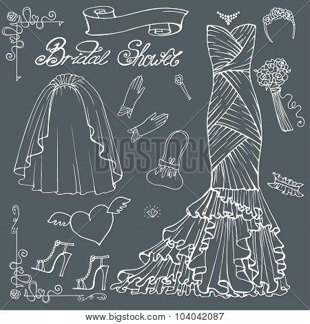 Bridal shower Dress,accessories set.Outline Decor element