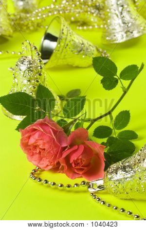 Holliday Card With Bells And Roses