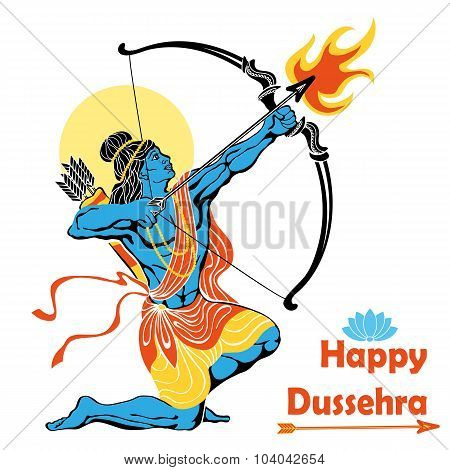 Lord Rama with bow arrow.Happy Dussehra
