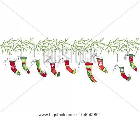Seamless pattern brush with Christmas Santa socks on white. Simple colors. Endless texture for Christmas design, announcements, postcards, posters.