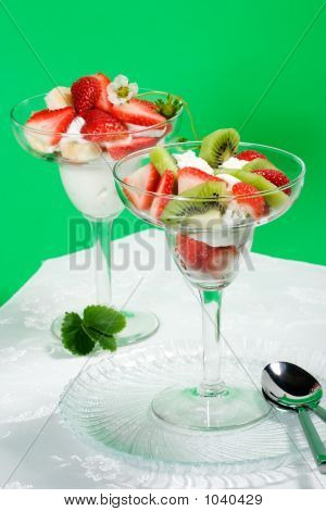 Strawberry And Kiwi Dessert In Glass