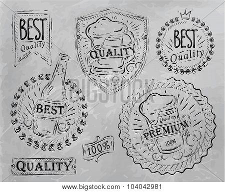 Vintage Beer Design Elements Coal