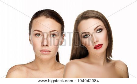 Comparison Portraits Beautiful Girl With And Without Makeup, Before And After Changes On White Backg