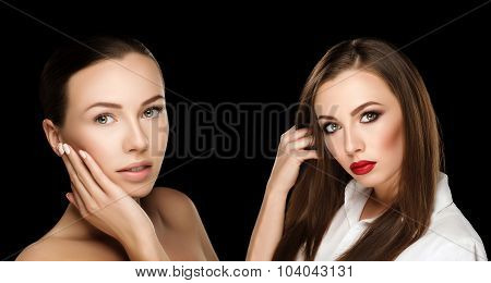 Comparison Portraits Beautiful Girl With Hands At Face With And Without Makeup, Before And After Cha