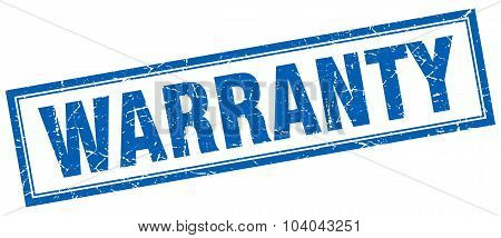 Warranty Blue Square Grunge Stamp On White