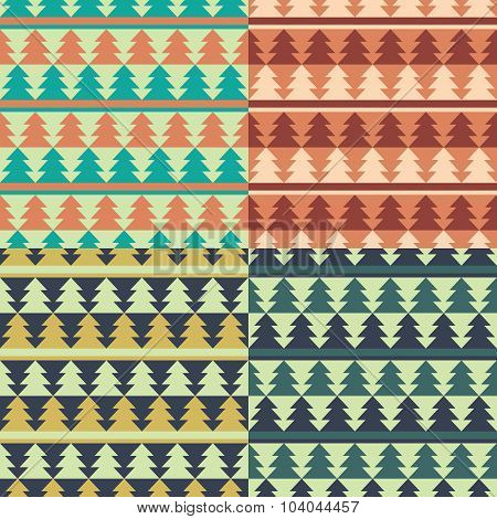 Set Of Christmas Retro Patterns.