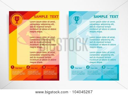 Champions Cup Symbol On Abstract Vector Modern Flyer, Brochure Vector Template.
