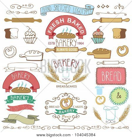 Vintage Bakery Labels elements.Hand sketched