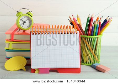 School equipment isolated on white