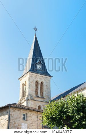 Tower of church in French Peyrat le Chateau