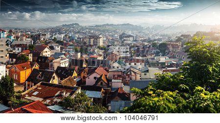 Panorama of the city of Antananarivo at sunrise. Madagascar