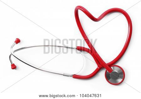 red shape heart stethoscope isolated on white