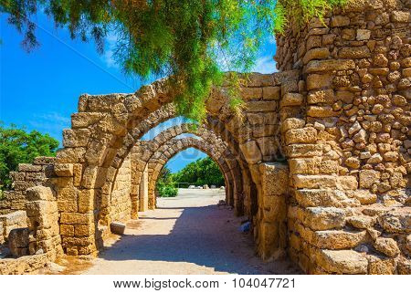 Superbly preserved ancient arched ceiling of stalls. National park Caesarea on the Mediterranean. Israel