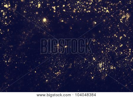Abstract Background - Golden Lights, Flash , Night City, Lens Flare. Abstract Fractal Black And Dark