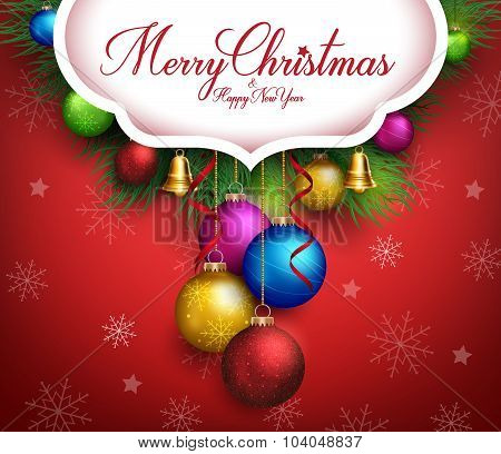 3D Realistic Merry Christmas Greetings Text with Hanging