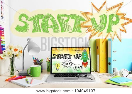 Workplace with computer. Startup business concept