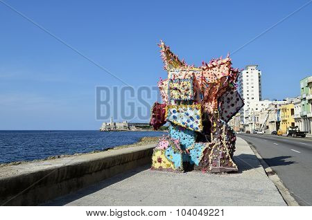 Artwork in the malecon (Havana, Cuba)