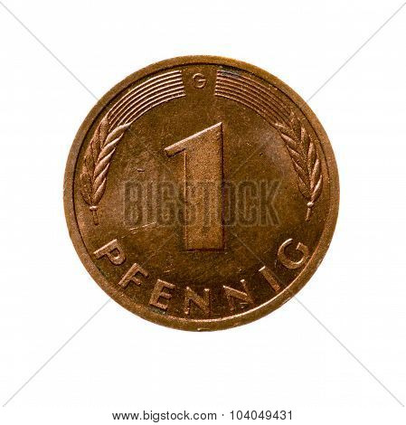 Coin One Pfennig Germany Isolated On White Background. Top View.